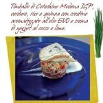 Timballo di Cotechino Modena IGP, verdure, riso e quinoa con crostino aromatizzato all'olio EVO e crema di yogurt al cocco e lime.