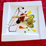 Medaglioni di Zampone Modena IGP e melanzane su ristretto di Montepulciano