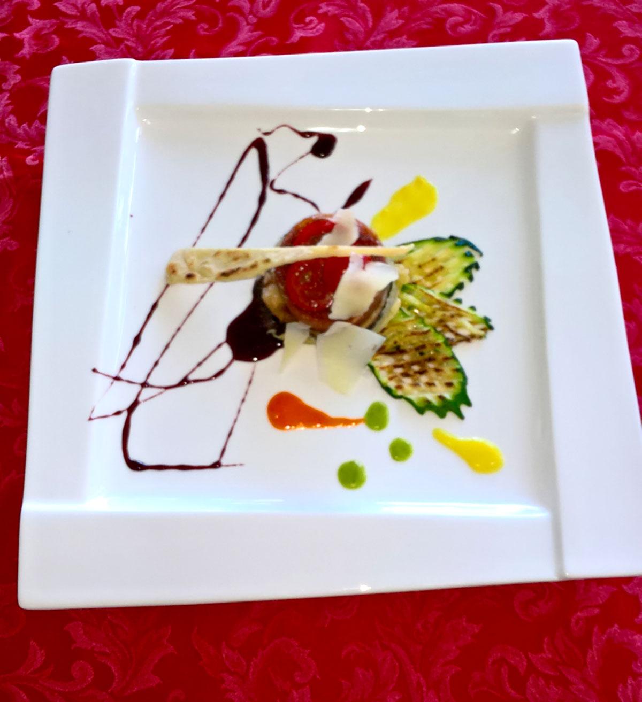 Medaglioni di Zampone Modena IGP e melanzane su ristretto di Montepulciano, ricetta