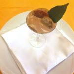 Coppa di crema zabaione al Sagrantino passito con Zampone Modena IGP e biscotto integrale di frutta secca