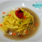Tagliolini in due brodi dashi all'emiliana