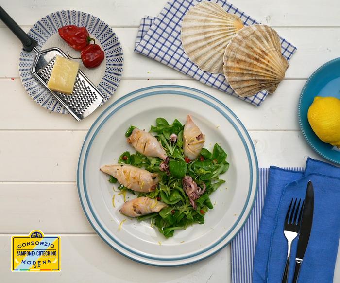 Calamari ripieni di cotechino e friarielli, la ricetta
