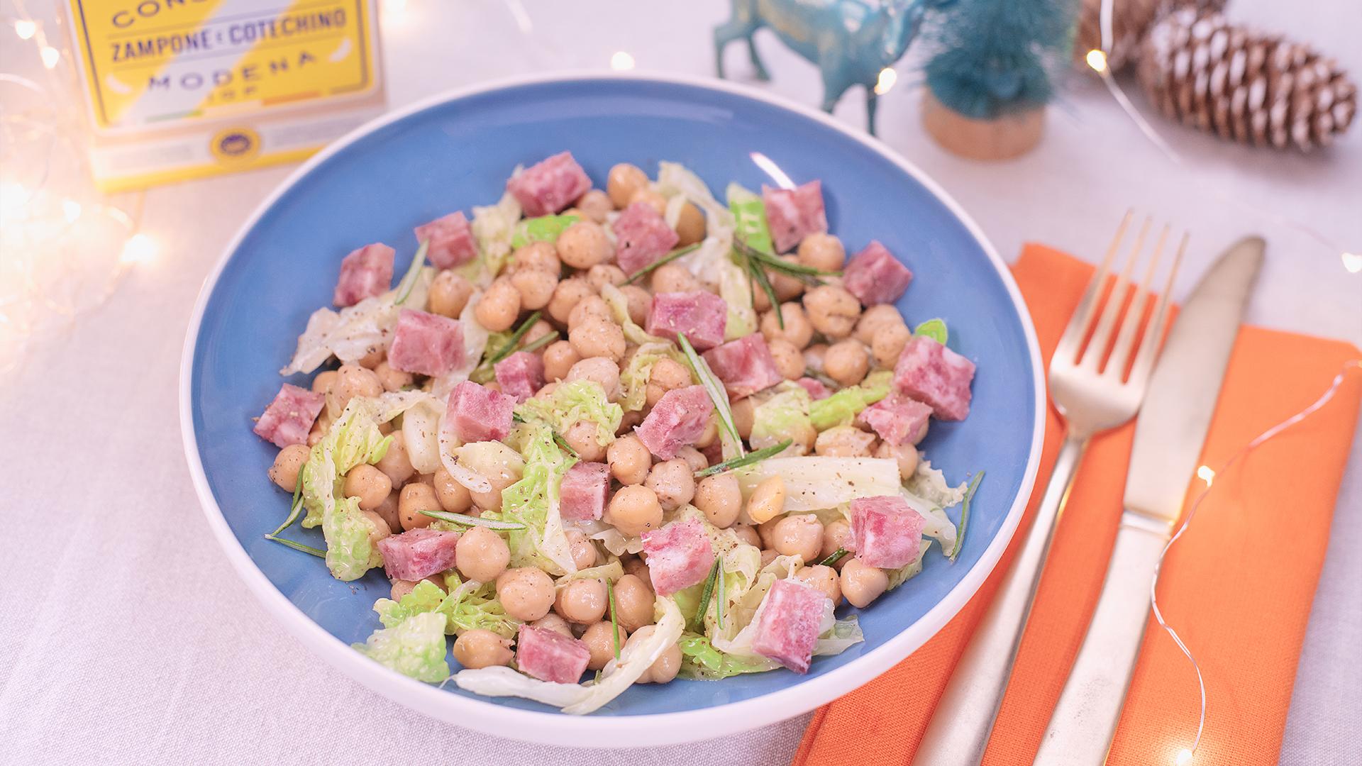 Ricetta insalata di Cotechino Modena IGP con ceci e verza